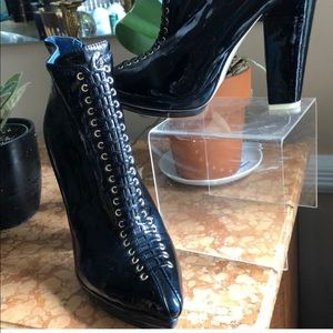 Navy patent platform boots from Jeffrey Campbell